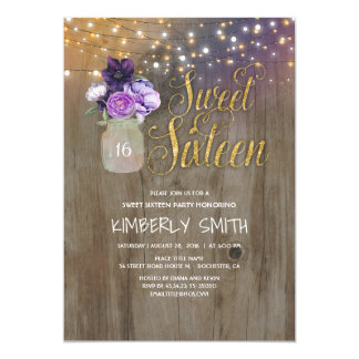 16 Birthday Party - Sweet Sixteen Mason Jar Purple Card