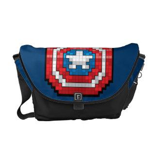 16-Bit Pixelated Captain America Shield Messenger Bag