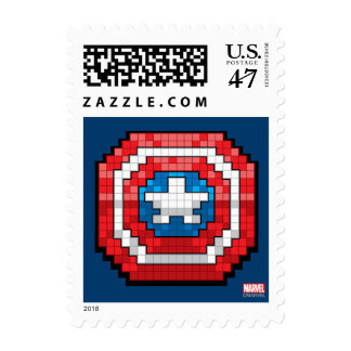 16-Bit Pixelated Captain America Shield Postage