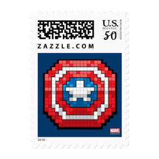 16-Bit Pixelated Captain America Shield Postage