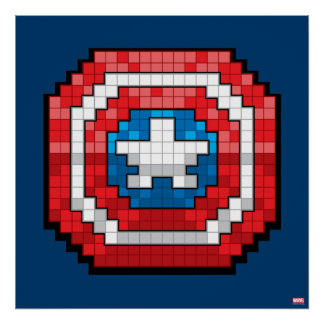 16-Bit Pixelated Captain America Shield Poster