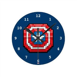 16-Bit Pixelated Captain America Shield Round Clock