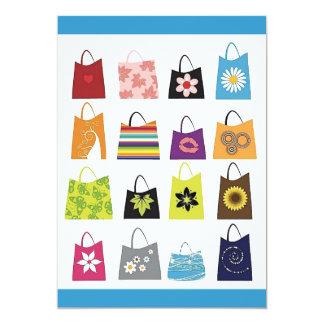 """16 bolsos de compras libres del vector invitación 5"""" x 7"""""""