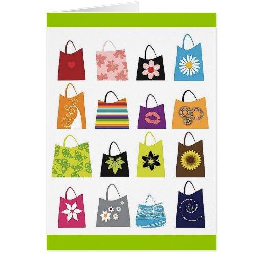 16 bolsos de compras libres del vector tarjeta de felicitación