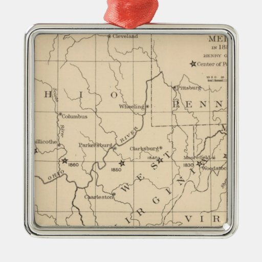 16 Center of population 17901900 Square Metal Christmas Ornament