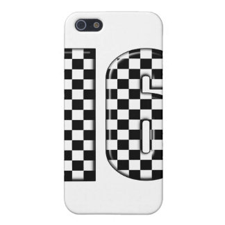 16 checkered auto racing number cover for iPhone SE/5/5s