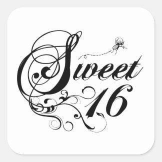 16 citas del dulce dieciséis colcomanias cuadradass
