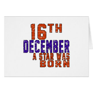16 de diciembre una estrella nació tarjeta de felicitación