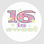 16 es dulces pegatina redonda