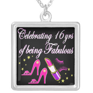 16 & FABULOUS HIGH HEEL DESIGN SILVER PLATED NECKLACE