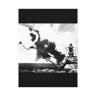 "16"" guns of the USS IOWA firing during_War Image Canvas Print"