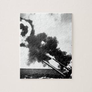 "16"" guns of the USS IOWA firing during_War Image Jigsaw Puzzle"