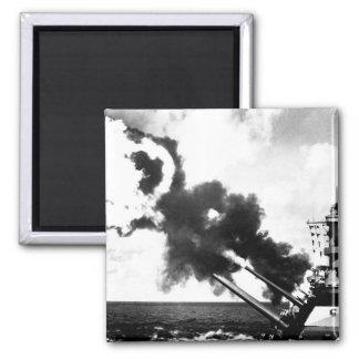 """16"""" guns of the USS IOWA firing during_War Image Magnet"""