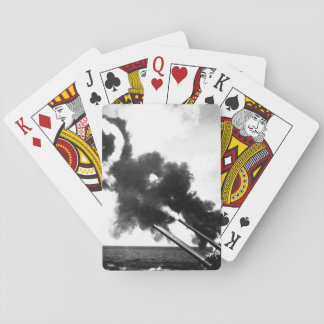"16"" guns of the USS IOWA firing during_War Image Playing Cards"