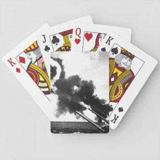 "16"" guns of the USS IOWA firing during_War Image Poker Cards"