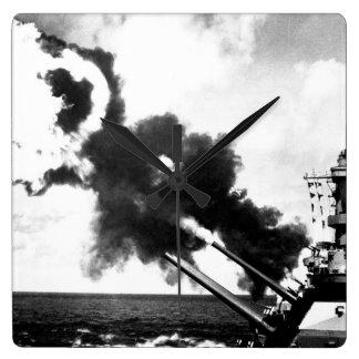 "16"" guns of the USS IOWA firing during_War Image Square Wall Clock"