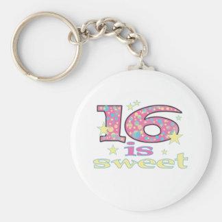 16 is Sweet Basic Round Button Keychain