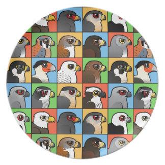 16 North American Raptor Profiles (tiled) Dinner Plates