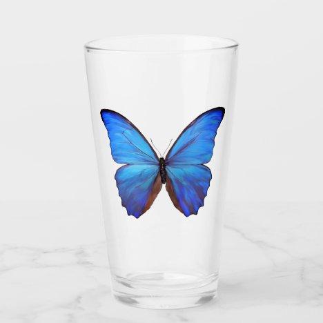 16 oz Glass Blue Butterfly