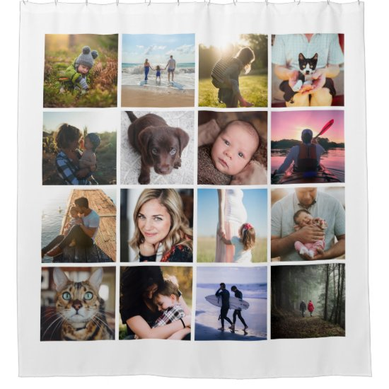 16 photo collage photography shower curtain