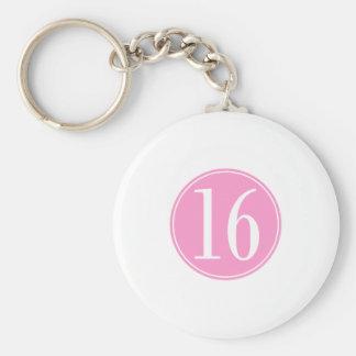 #16 Pink Circle Key Chain