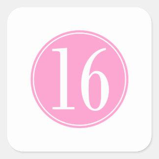 #16 Pink Circle Square Sticker