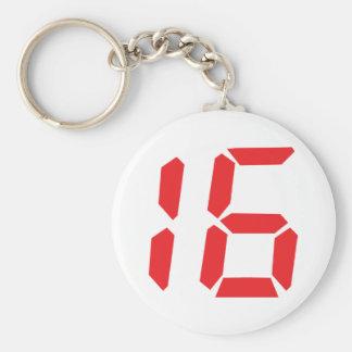 16 sixteen  red alarm clock digital number basic round button keychain