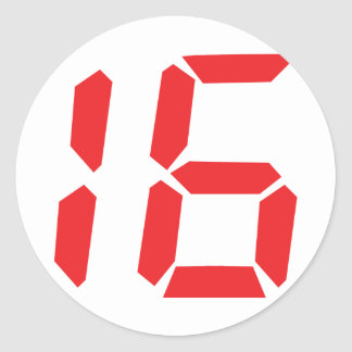 16 sixteen  red alarm clock digital number classic round sticker