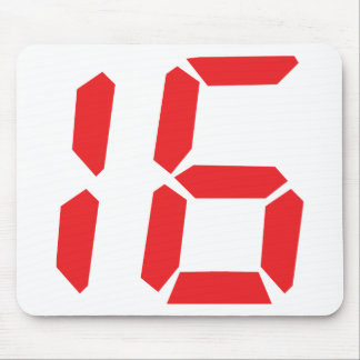 16 sixteen  red alarm clock digital number mouse mat