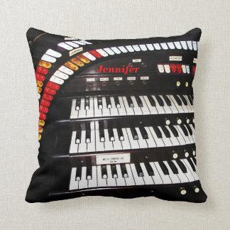 "16"" Square Pillow Antique Organ Keyboard Customize"