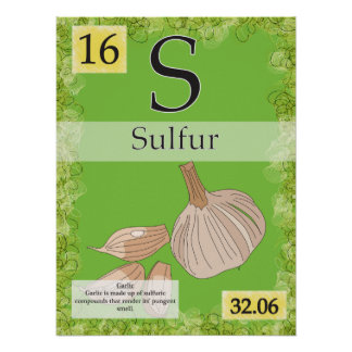 16. Sulfur (S) Periodic Table of the Elements Poster