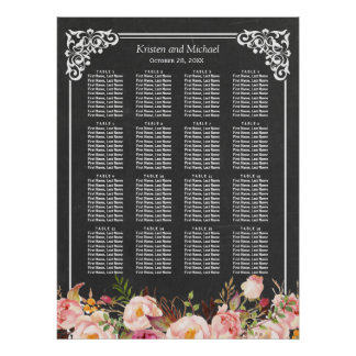 16 Tables Floral Chalkboard Wedding Seating Chart