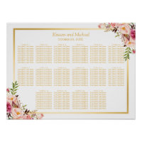 16 Tables Gold Chic Floral Wedding Seating Chart