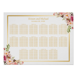16 Tables Gold Chic Floral Wedding Seating Chart Poster