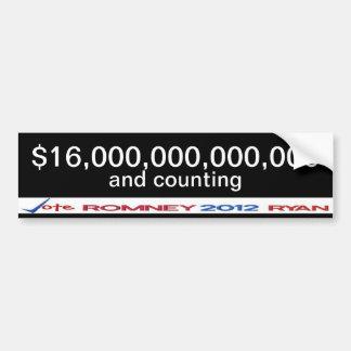 $16 trillion debt Anti-Obama bumper sticker