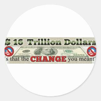 $ 16 TRILLÓN DEUDAS NACIONALES PEGATINA REDONDA