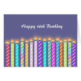 16 velas de décimosexto tarjeta de cumpleaños