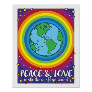 "16""x20"" Peace & Love Make The World Go 'Round Poster"