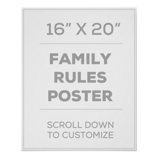 16 Quot X 20 Quot Family Rules Poster Zazzle Com