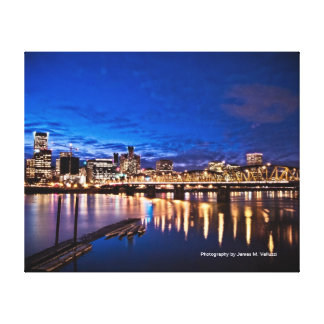 16 x 20 Portland Skyline at Night #1 Stretched Canvas Print