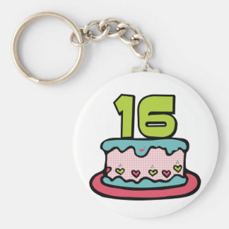 16 Year Old Birthday Cake Key Chains