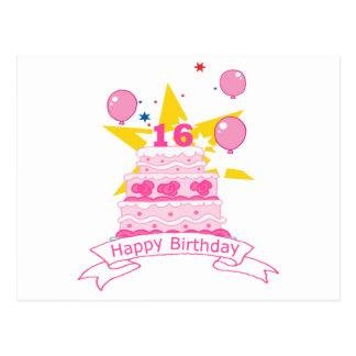 16 Year Old Birthday Cake Postcard