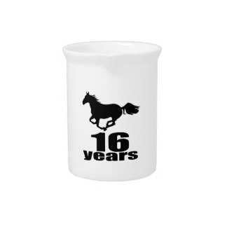 16 Years Birthday Designs Pitcher