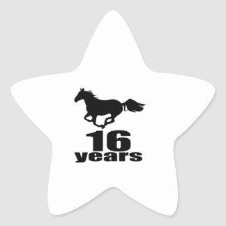 16 Years Birthday Designs Star Sticker