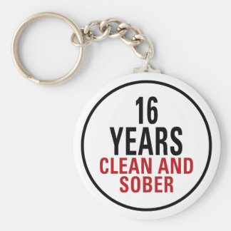16 Years Clean and Sober Keychain