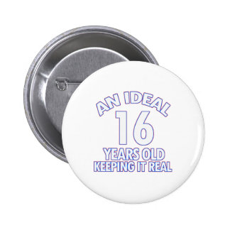 16 YEARS OLD BIRTHDAY DESIGNS BUTTON