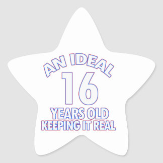 16 YEARS OLD BIRTHDAY DESIGNS STAR STICKER