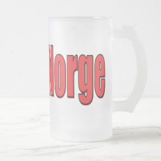 16oz Frosted Glass Mug Norge Block