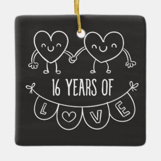 16th anniversary gift chalk hearts ceramic ornament