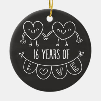 16th Anniversary Gift Chalk Hearts Ceramic Ornament